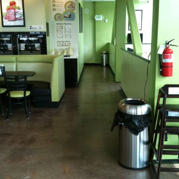 Dyed & Polished Concrete at Kiwi Loco in Rexburg, Idaho | Silver Crest Corp.
