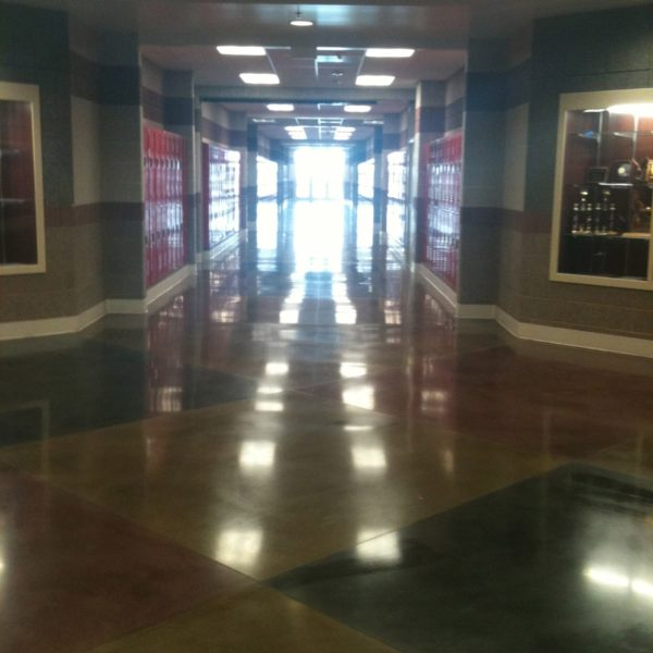 Stained Concrete Floor in Rexburg School | Silver Crest Corp.